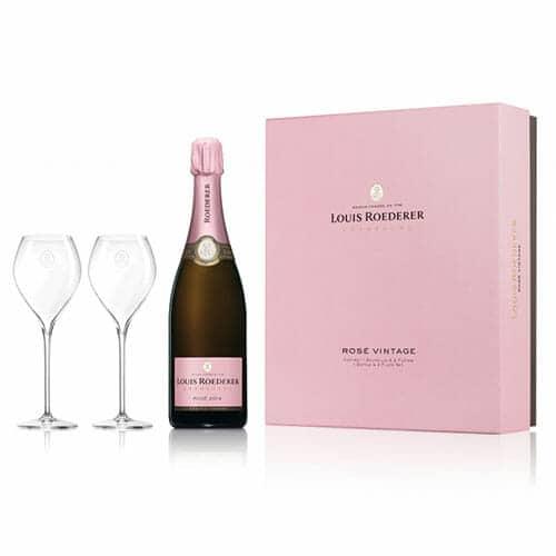 de Coninck Wine Merchant Champagne Louis Roederer Brut rosé 2014 + 2 flûtes