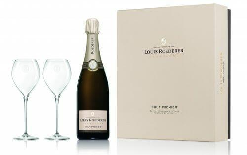 de Coninck Wine Merchant Champagne Louis Roederer Brut Premier + 2 flûtes