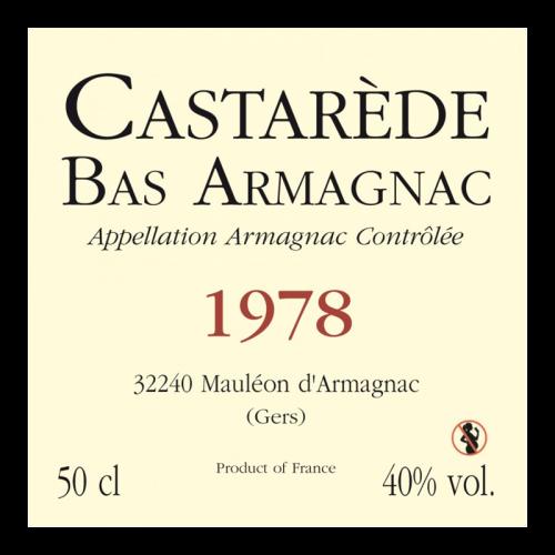 de Coninck Wine Merchant Bas-Armagnac Castarède Millésime 1978