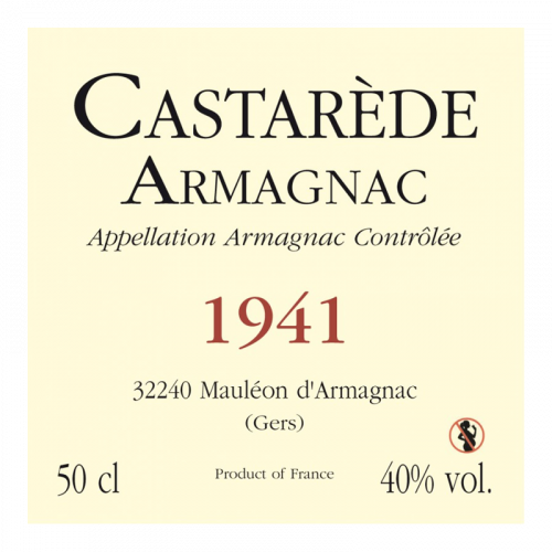 de Coninck Wine Merchant Bas-Armagnac Castarède Millésime 1942