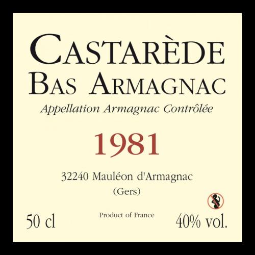 de Coninck Wine Merchant Bas-Armagnac Castarède Millésime 1981