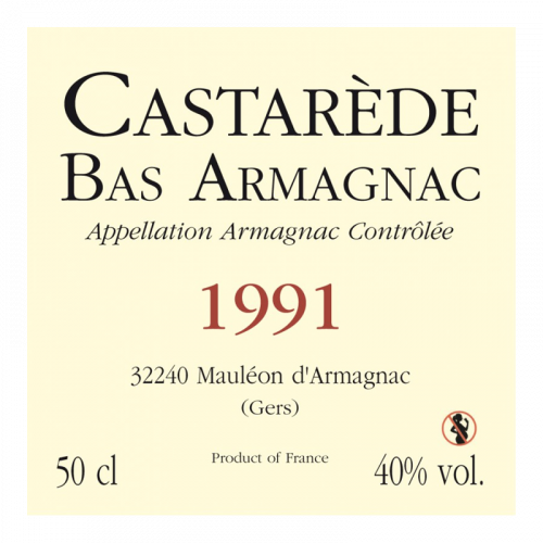 de Coninck Wine Merchant Bas-Armagnac Castarède Millésime 1991