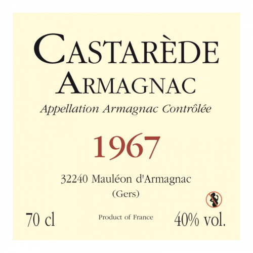 de Coninck Wine Merchant Bas-Armagnac Castarède Millésime 1967