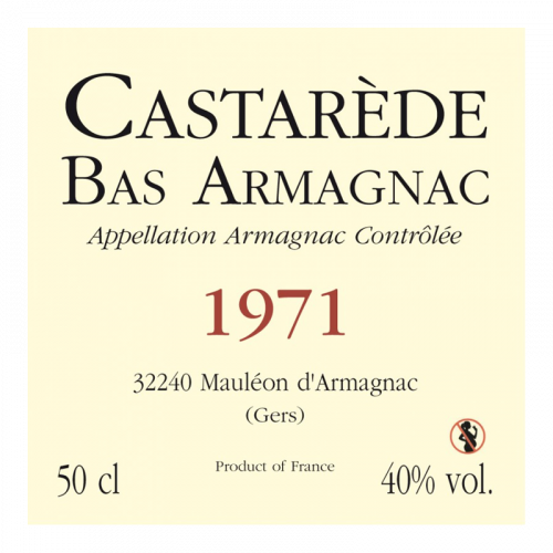 de Coninck Wine Merchant Bas-Armagnac Castarède Millésime 1971