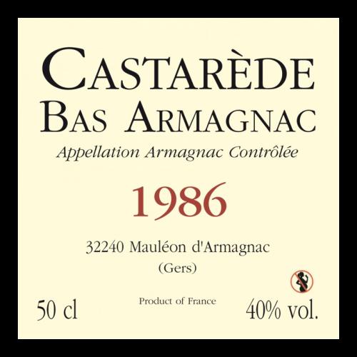de Coninck Wine Merchant Bas-Armagnac Castarède Millésime 1986