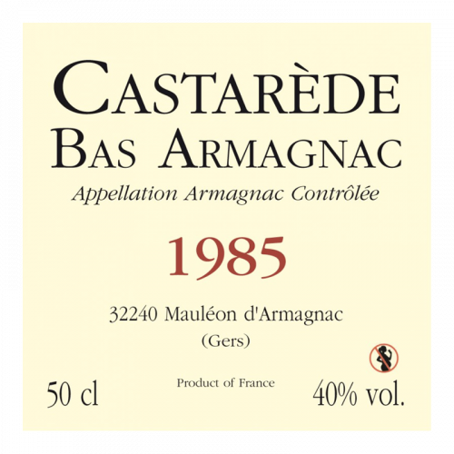 de Coninck Wine Merchant Bas-Armagnac Castarède Millésime 1984