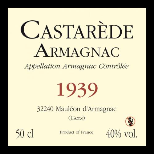 de Coninck Wine Merchant Bas-Armagnac Castarède Millésime 1938