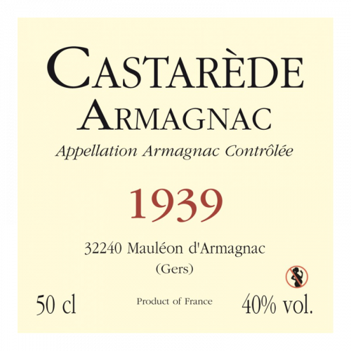 de Coninck Wine Merchant Bas-Armagnac Castarède Millésime 1935
