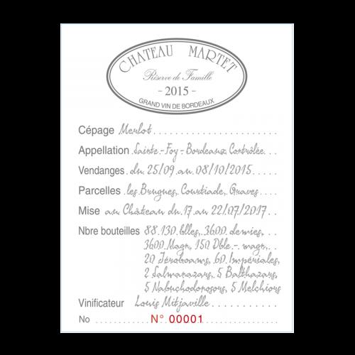 """de Coninck Wine Merchant Château Martet """"Réserve de Famille"""" 2017 - Sainte-Foy-Bordeaux Double Magnum 3L"""